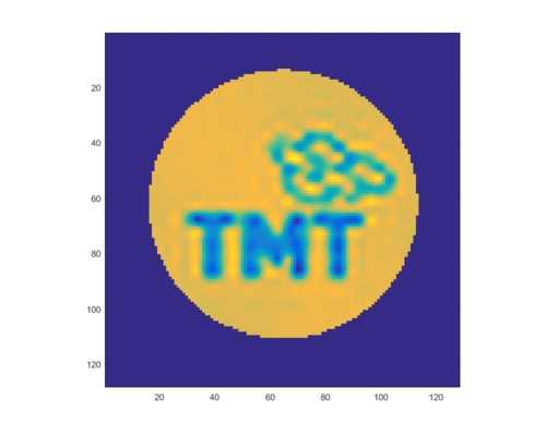 TMT logo generated with the TMT DM Prototype during the tests at the Herzberg Astronomy and Astrophysics of the National Research Council Canada.