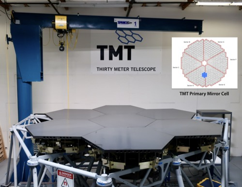 The TMT Multi-Segment Integration & Test (MSIT) facility, fully populated with seven full-size aluminum segments, at the Monrovia laboratory, on February 11, 2020.