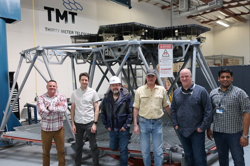 TMT engineers involved in the installation of the primary mirror segment assembly prototypes into the TMT Multi-Segment Integration & Test (MSIT) facility.