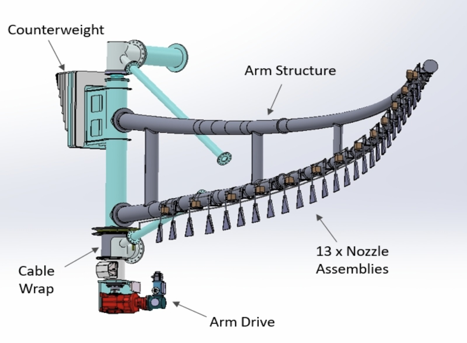 Layout of one Robotic Cleaning Arm for TMT Primary Mirror