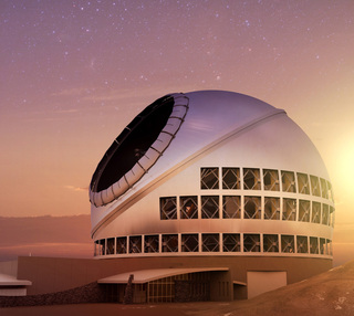 Artist impression of the TMT Observatory at sunset