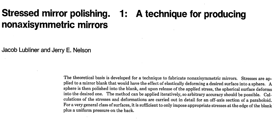 Stressed Mirror Polishing process