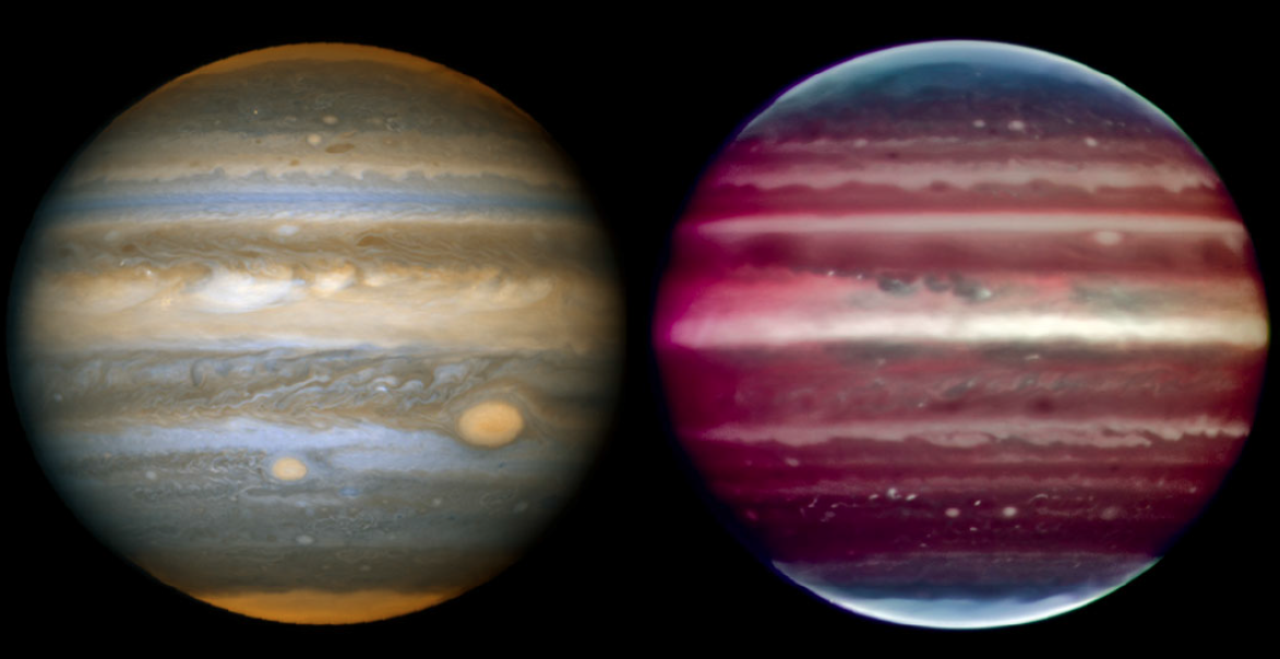 Jupiter, seen from space and from the ground.