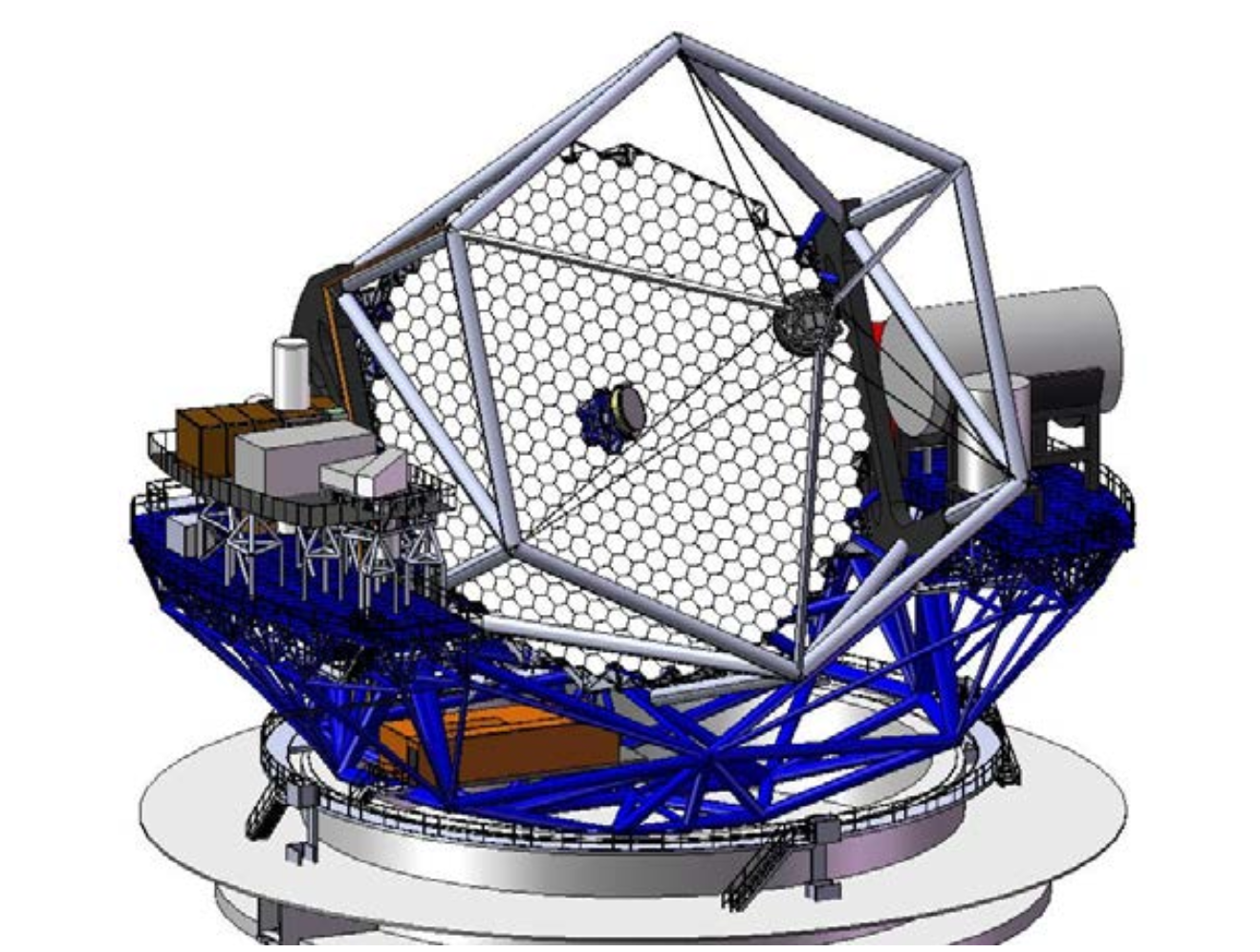 Rendered drawing of TMT Primary Mirror (M1) within the complete telescope structure.