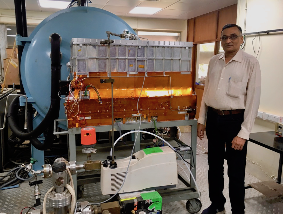 Dhiraj Dedhia (Scientific Officer, Tata Institute for Fundamental Research) with flight spare of the Large Area X-ray Proportional Count.