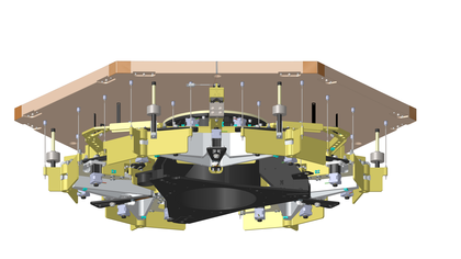 TMT Polished Mirror Assembly Graphic Design  Figure 1: Attachment of Glass Segment to Segment Support Assembly   - Image Credit: TMT International Observatory
