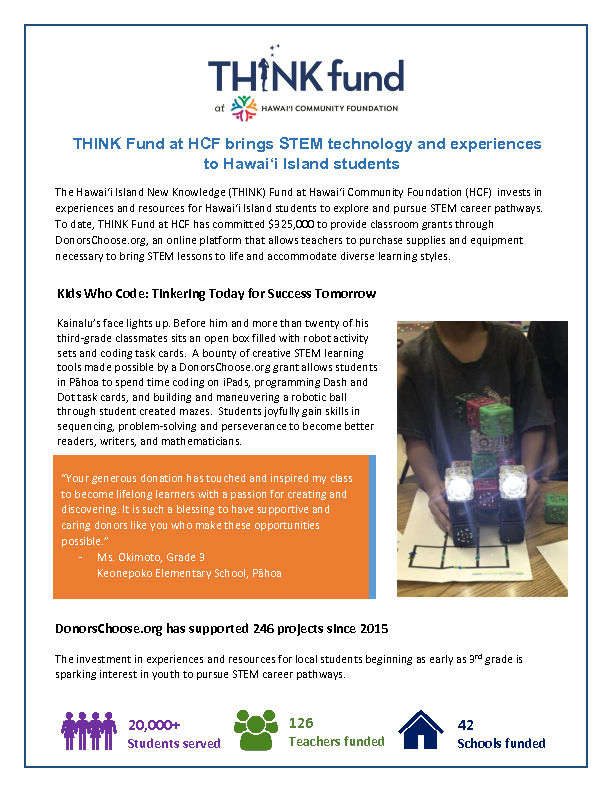 THINK Fund at HCF brings STEM technology and experiences to Hawai'i Island students