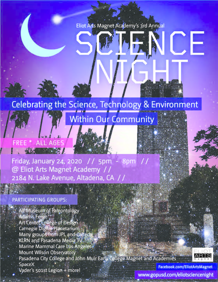 Eliot Arts Magnet School Science Night Poster