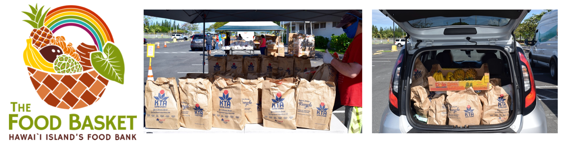 The Food Basket, Hawai'i Islands Food Bank, Ohana Drop at Old Kona Airport Park.