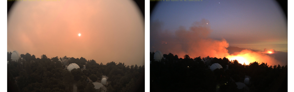 Glow of the Bobcat fire reaching the Mount Wilson Observatory on the morning of September 16 (left) and September 15, 2020 (right)
